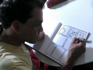 Bryce draws comics that will be used as a prop in the scene