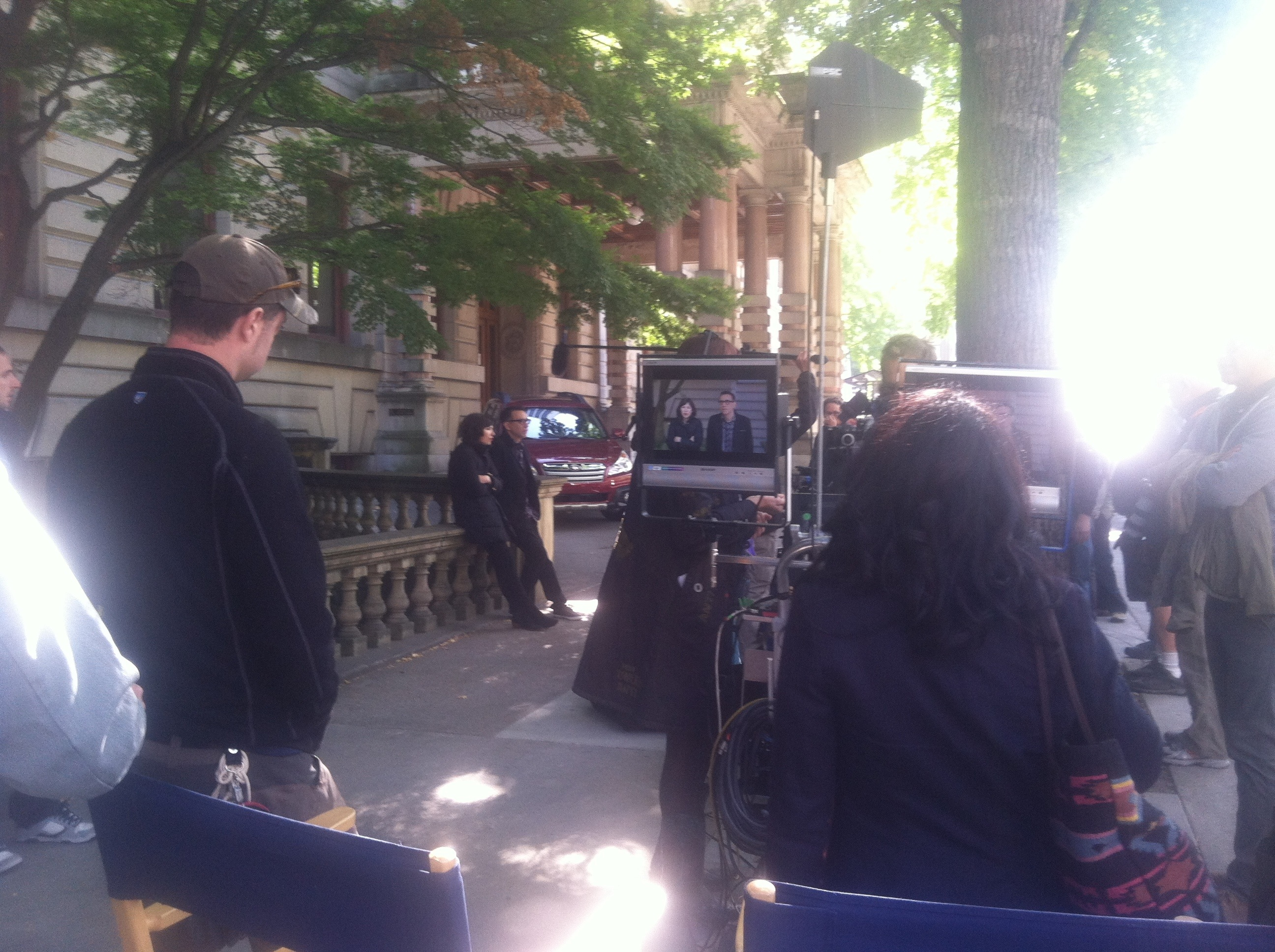 Fred and Carrie on set of Portlandia